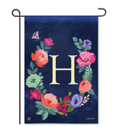 "Boho Flowers Monogram  ""H"" Garden Flag"