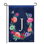 "Boho Flowers Monogram ""J"" Garden Flag"