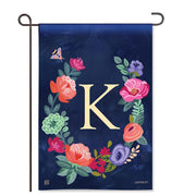 "Boho Flowers Monogram  ""K"" Garden Flag"
