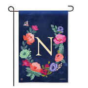"Boho Flowers Monogram  ""N"" Garden Flag"