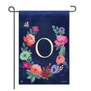 "Boho Flowers Monogram  ""O"" Garden Flag"
