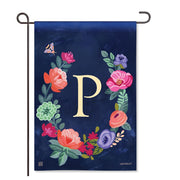 "Boho Flowers Monogram  ""P"" Garden Flag"
