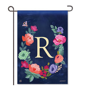 "Boho Flowers Monogram  ""R"" Garden Flag"