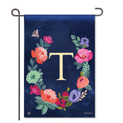 "Boho Flowers Monogram  ""T"" Garden Flag"