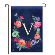"Boho Flowers Monogram ""V"" Garden Flag"