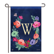 "Boho Flowers Monogram  ""W"" Garden Flag"