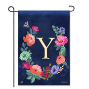 "Boho Flowers Monogram ""Y"" Garden Flag"