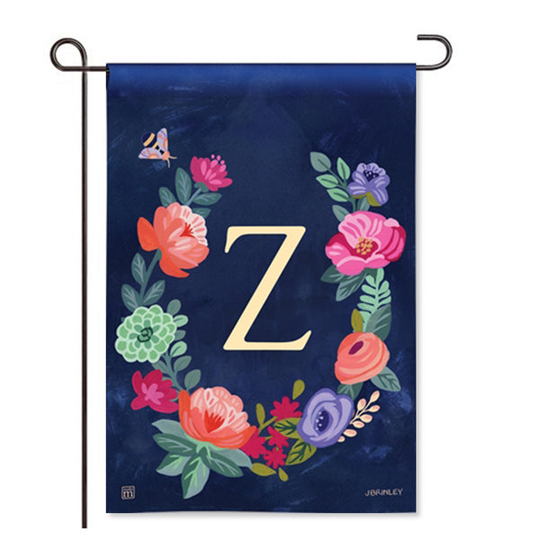 "Boho Flowers Monogram  ""Z"" Garden Flag"