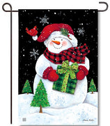 Buffalo Check Snowman Garden Flag