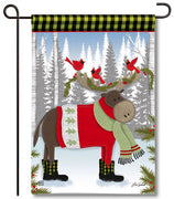Winter Fun Moose Garden Flag