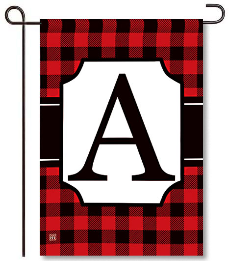 Buffalo Check Monogram A Garden Flag