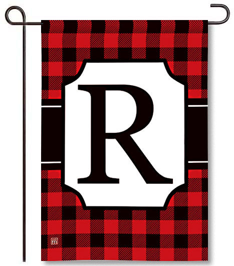 Buffalo Check Monogram R Garden Flag