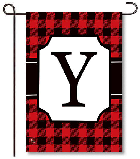 Buffalo Check Monogram Y Garden Flag