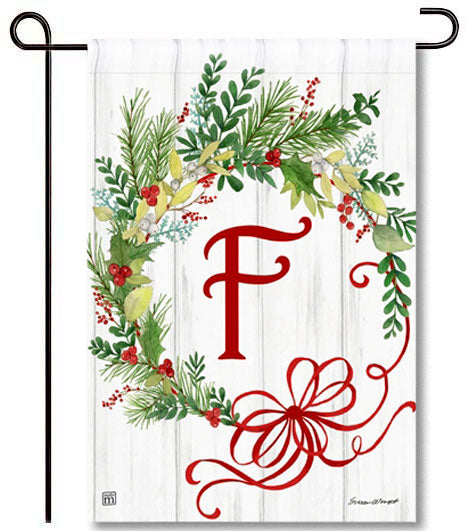 Winterberry Monogram F Garden Flag