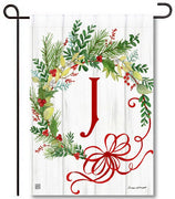 Winterberry Monogram J Garden Flag