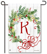 Winterberry Monogram K Garden Flag
