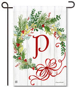 Winterberry Monogram P Garden Flag