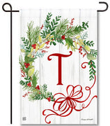 Winterberry Monogram T Garden Flag