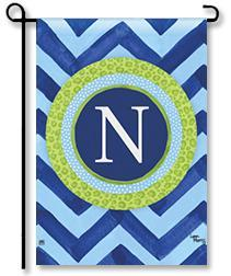 "Chevron Monogram ""N"" Garden Flag"