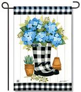 Black & White Wellies Garden Flag