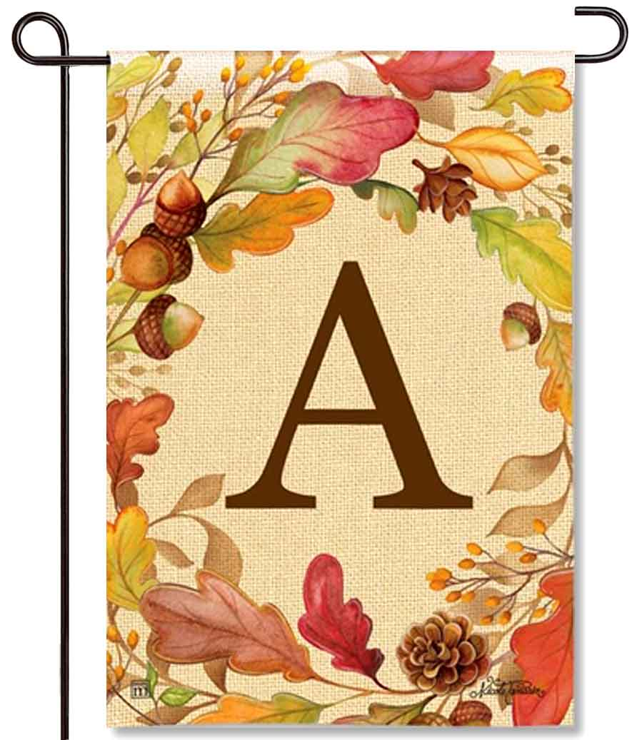 Swirling Leaves Monogram A Garden Flag