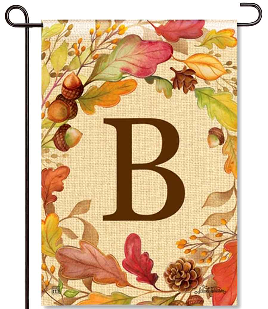 Swirling Leaves Monogram B Garden Flag