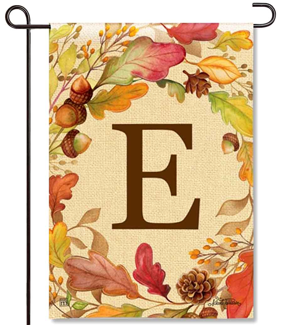 Swirling Leaves Monogram E Garden Flag