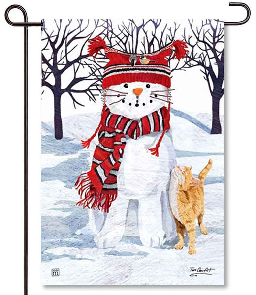 Snow Cat Garden Flag