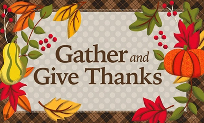 Gather and Give Thanks Door Mat