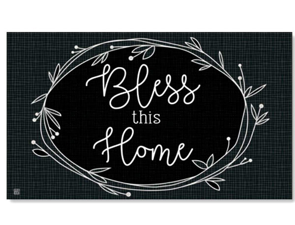 Rustic Wreath Blessing Door Mat