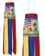 "Patriotic Sunflowers 28"" Windsock"