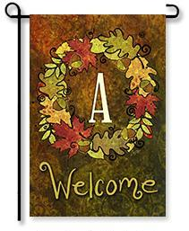 "Fall Wreath Monogram ""A"" Garden Flag"