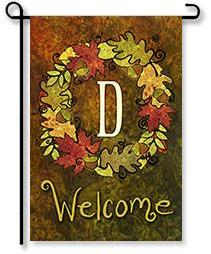 "Fall Wreath Monogram ""D"" Garden Flag"