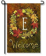 "Fall Wreath Monogram ""E"" Garden Flag"