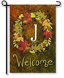 "Fall Wreath Monogram ""J"" Garden Flag"