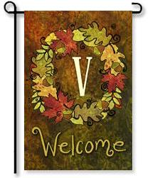 "Fall Wreath Monogram ""V"" Garden Flag"