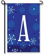 "Winter Snowflakes Monogram ""A"" Garden Flag"