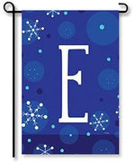 "Winter Snowflakes Monogram ""E"" Garden Flag"