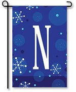 "Winter Snowflakes Monogram ""N"" Garden Flag"