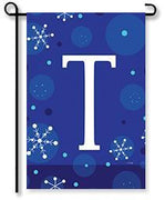 "Winter Snowflakes Monogram ""T"" Garden Flag"