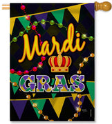 Time to Mardi Gras House Flag