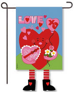 Love Heart Crazy Legs Garden Flags