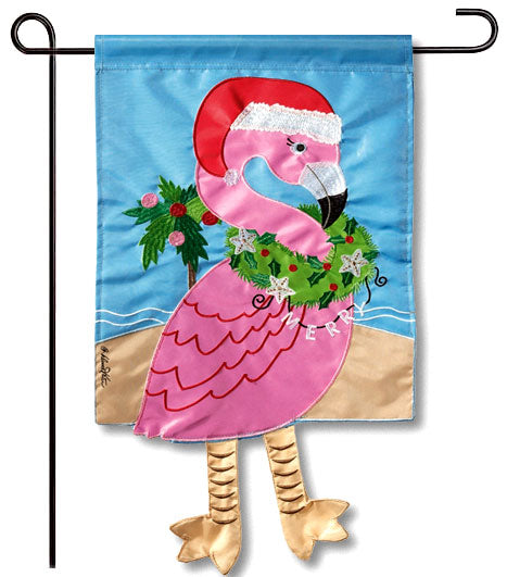 Christmas Flamingo Crazy Legs Applique Flag