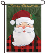 Merry Santa Applique Garden Flag