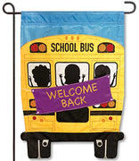 School Bus Applique Garden Flag