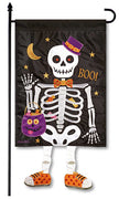 Skeleton Boo Crazy Legs Garden Flag