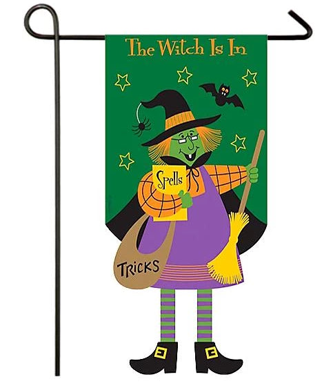 The Witch is In Crazy Legs Applique Garden Flag