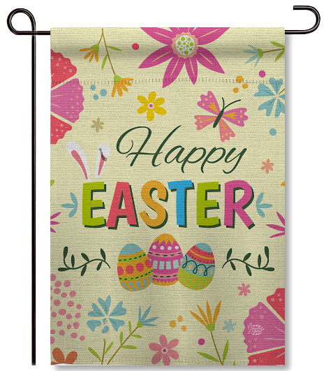 Easter Colorful Flowers Garden Flag