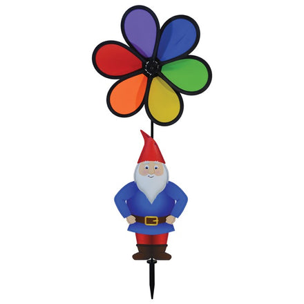 "Gnome with 10"" Rainbow Flower Spinner"