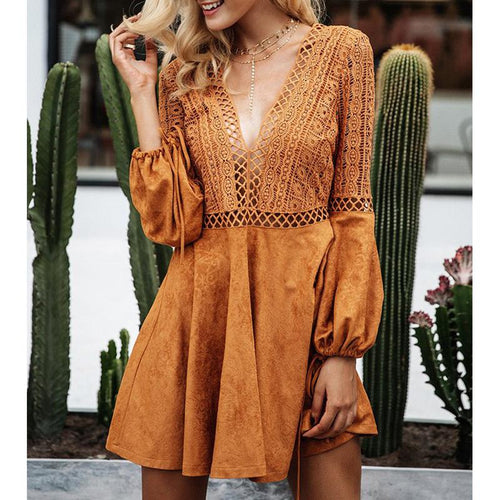 Lace Up Boho Mini Dress